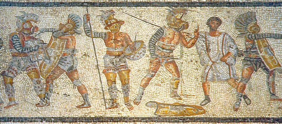 Gladiators.  This wasn't that long ago, folks. Had the ancient Romans known of electromagnetism, this would have made for an unparalleled television experience. Who can resist a classic battle between a thracian (far left) and a murmillo (second from left)?
