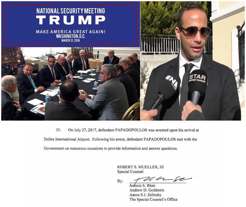 "Papadopoulos Collage.  ""Following his arrest, defendant . . . met with the Government on numerous occasions to provide information and answer questions.""  Upper left is the infamous meeting, unremembered by Jeff Sessions until later remembered by Jeff Sessions, at which Papadopoulos suggested connecting with the Russian government."