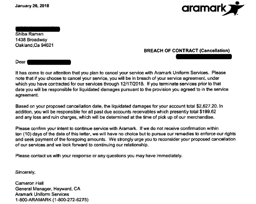 Aramark Demand Letter.  We got two of these things, one for each of our stores. They wanted over $5000 in total.