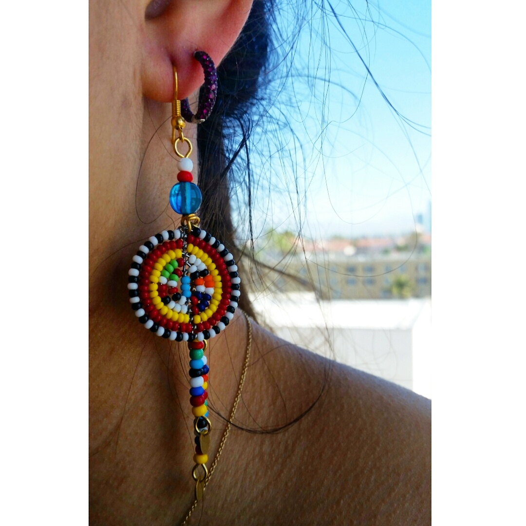 Colorful Beaded Earrings $15