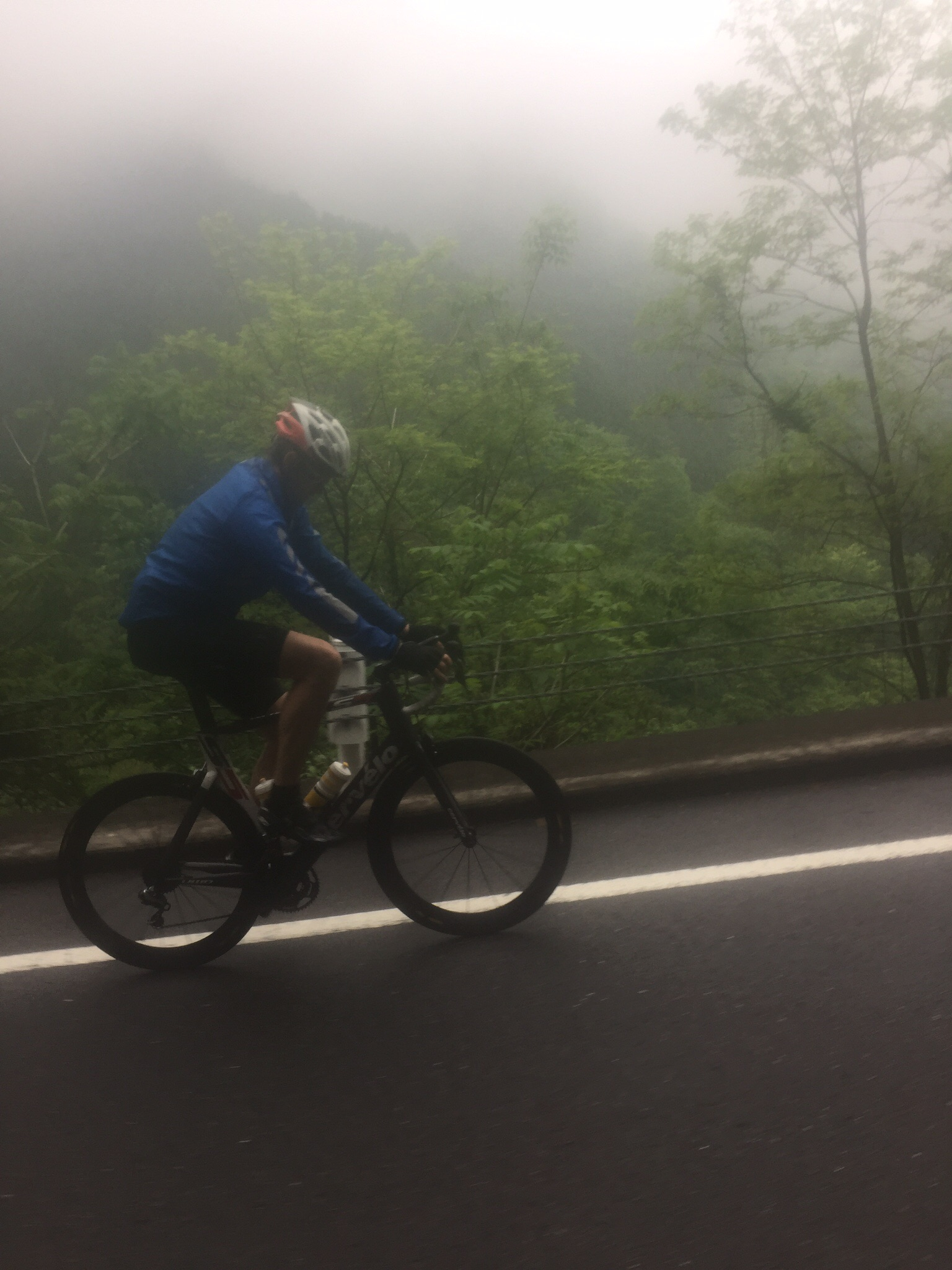 Danno pushing through the rain and low level fog - had a cracking day on the bike!