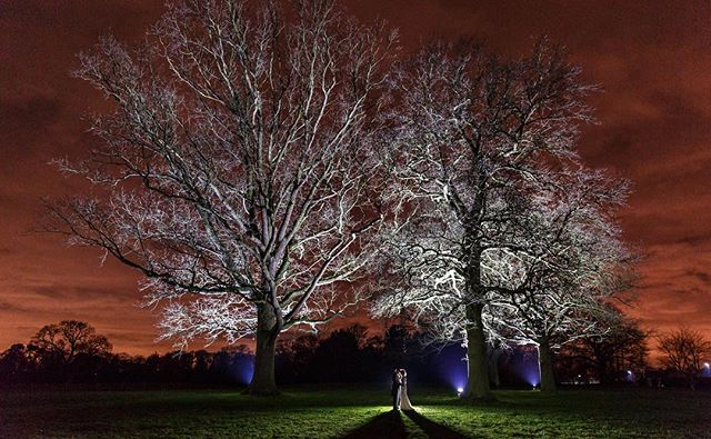 Red Sky at Night.... at Swinfen Hall. Always looking for that different shot. #staffordshireweddingphotographer #swinfenhall #creativeweddingphotography #weddinglandscape #nightshot