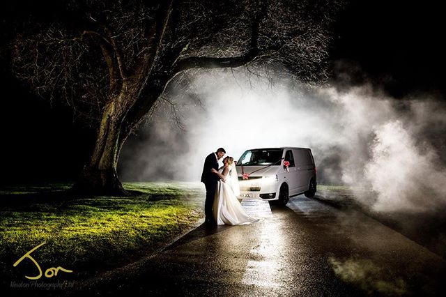 Smokin nightshot with with Hollie and James and their be van. #vw  #vwlovers #lovemyvan #whitevanman #derbyshireweddingphotographer #documentaryweddingphotography #creativephotography  #documentarywedding #breadsallpriory #marriothotel #winterwedding