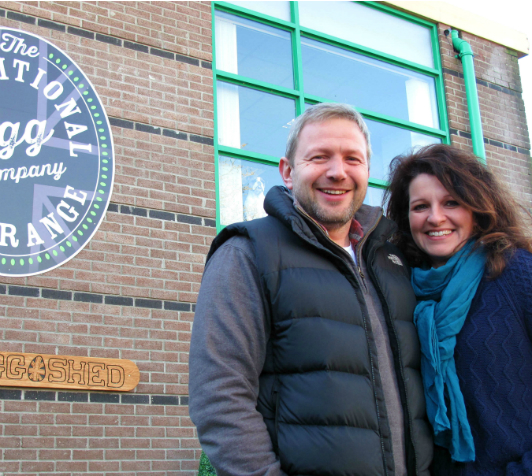 Dan and Briony Wood outside The Traditional Free Range Egg Company's new home, The Egg Shed in North Cadbury.