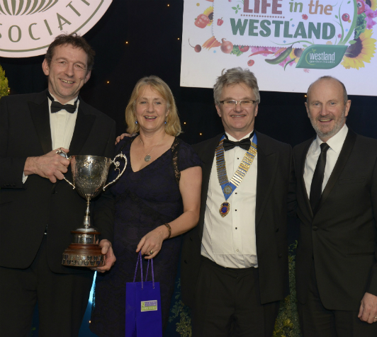 (L to R) Mike Burks, managing director of The Gardens Group, Louise Burks, director of The Gardens Group, Julian Winfield, GCA Chairman, and Fred MacAulay, comedian and awards dinner compere, at the GCA Annual Dinner and Awards Ceremony at The Fairmont in St Andrews.