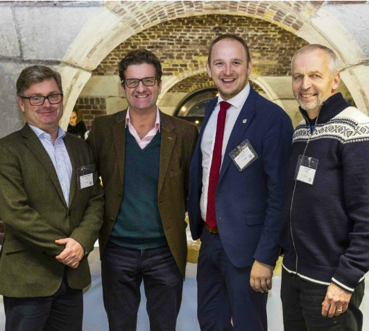(L to R) Bernt Bucher-Johannessen, executive manager of HANEN, John Farrand, managing director of the Guild of Fine Food, Jon Georg Dale, Norway's Minister of Agriculture and Food, and Gunnar Waagen, chairman of Tingvollost.