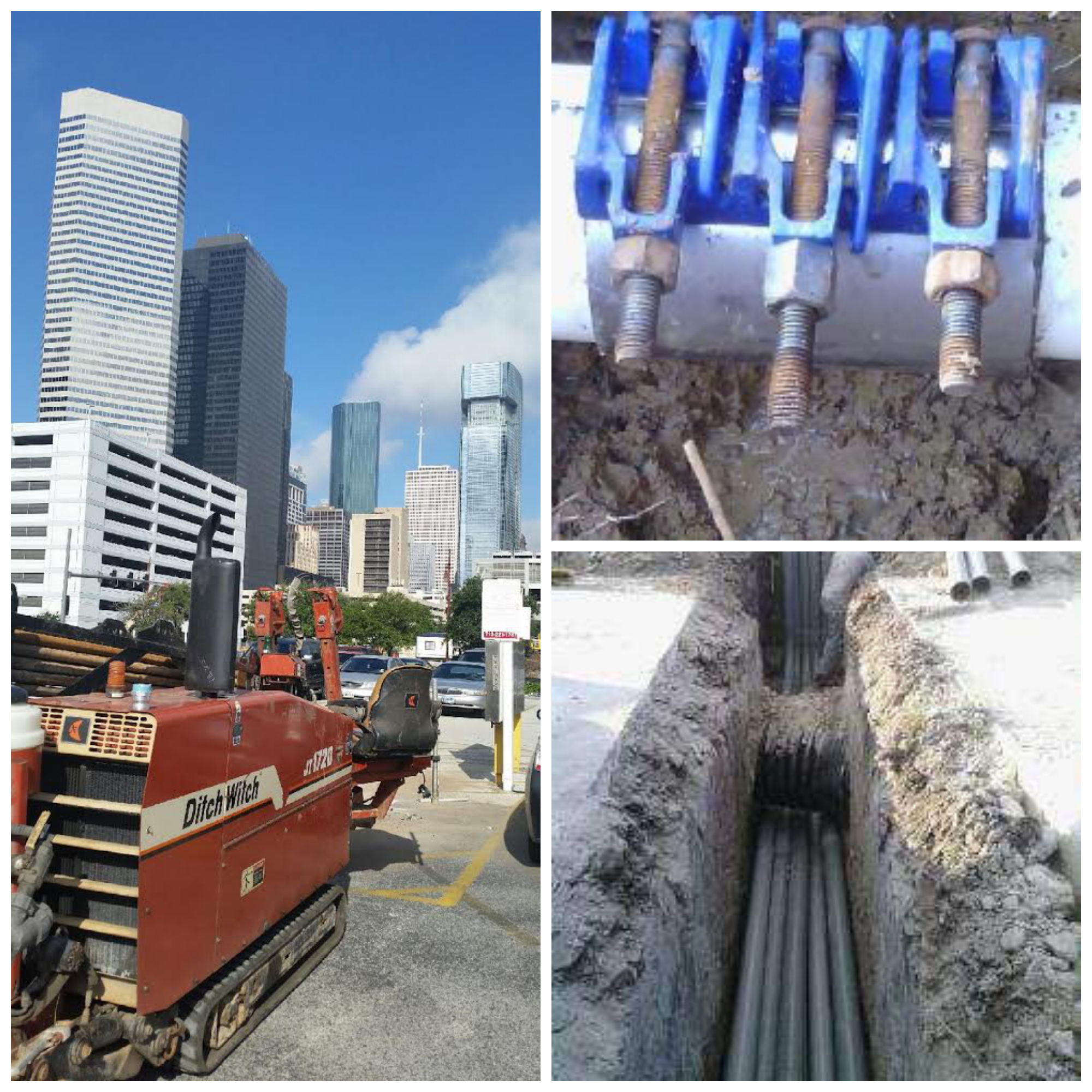 Our equipment at a job in Downtown Houston, a water pipe repair, and trenching.