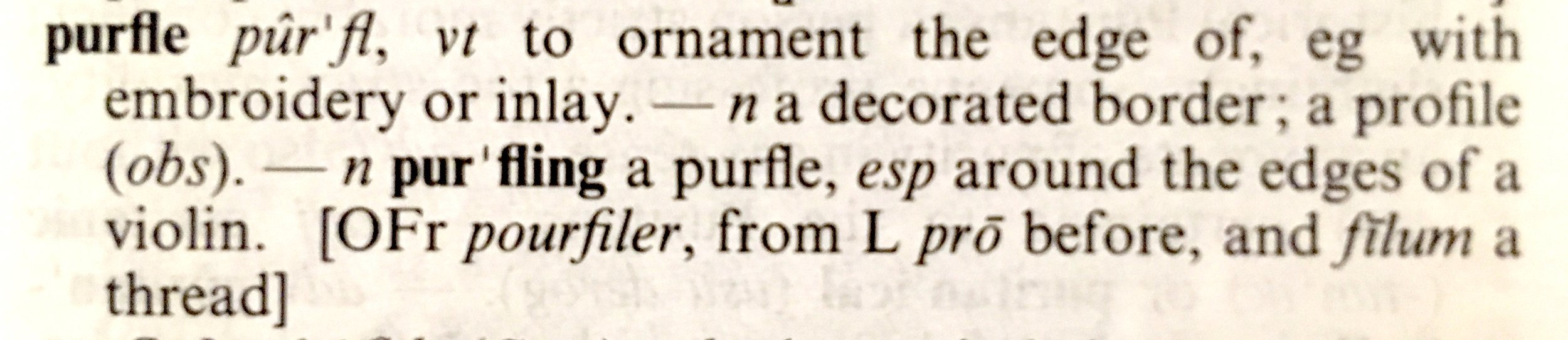 randomly selected word from the dictionary: Purfle