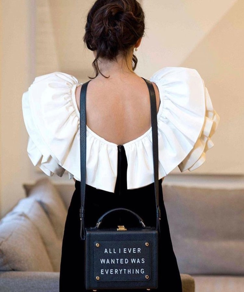 Olivia Steele x Meli Melo Womens Art Bag Black All I Ever Wanted Was Everything