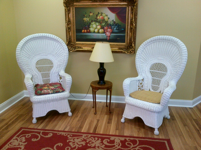 Pair White Wicker Chairs / Oil Painting