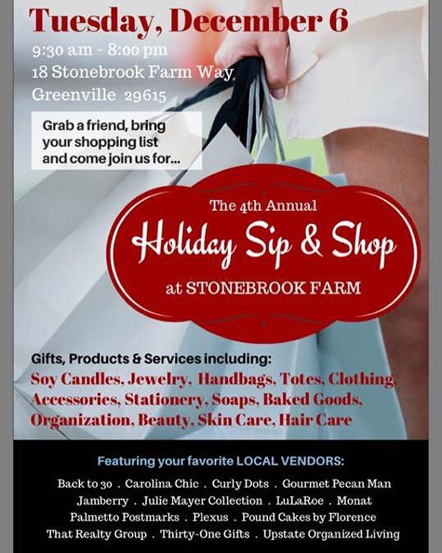 Come SIP & SHOP on Tuesday, Dec 6th at the Stonebrook Farm Clubhouse and get your favorite Julie Mayer Collection items before they sell out! We can't wait to see you there!