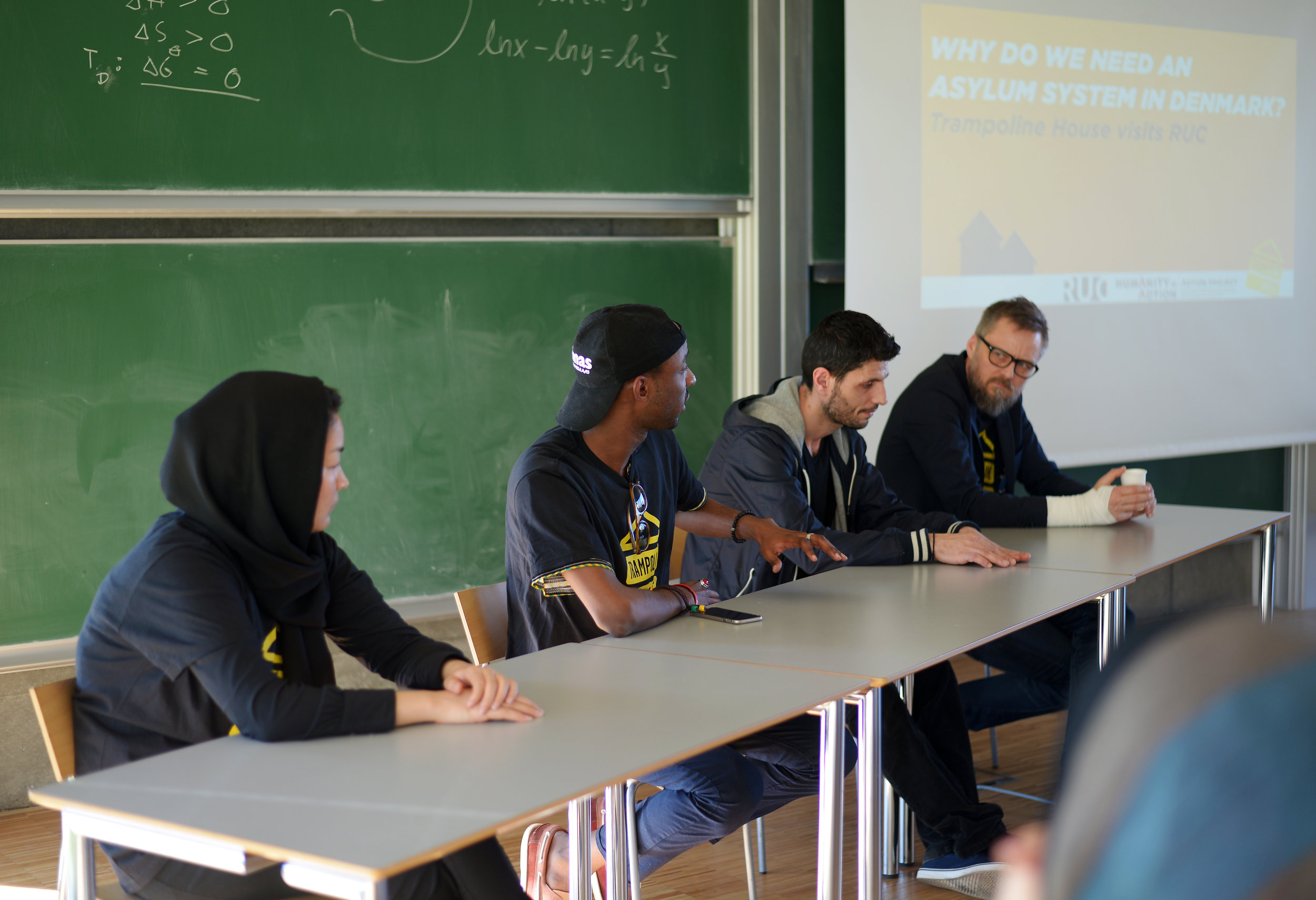 From right to left: Masoumeh, Kevin, Omid and Morten participating in an expert panel at Roskilde University. Photo: Anna Emy.