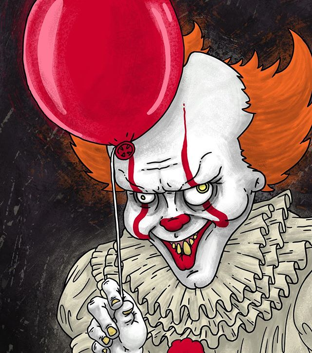 I may or may not have seen IT yet but I drew that clown guy from IT any way. IT was pretty fun. . . . #it #illustration #ajrothert