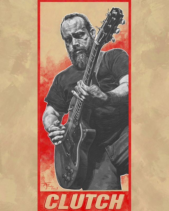 """""""Uncounted Les Pauls, Explode and take flight, Where there was darkness, Now only light""""-Clutch; The Face @clutchofficial . . . #clutchband #neilfallon #lespaul #guitarporn #clutchlive #rocknroll #guitarist #illustration #fanartfriday"""