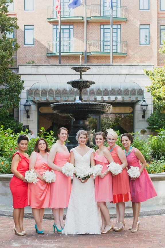 charleston-wedding-pink-bridesmaids-dresses
