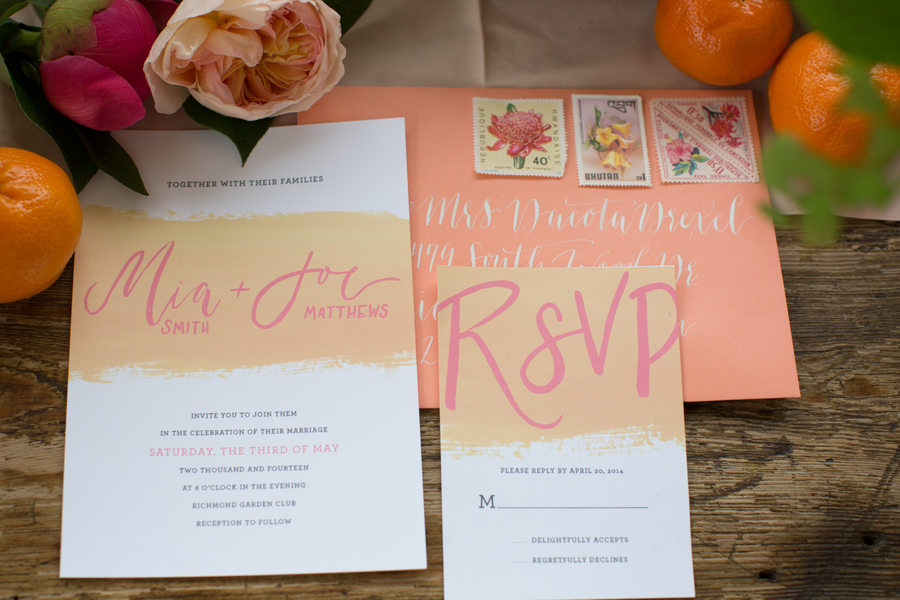 Pink & Orange Wedding Invitations