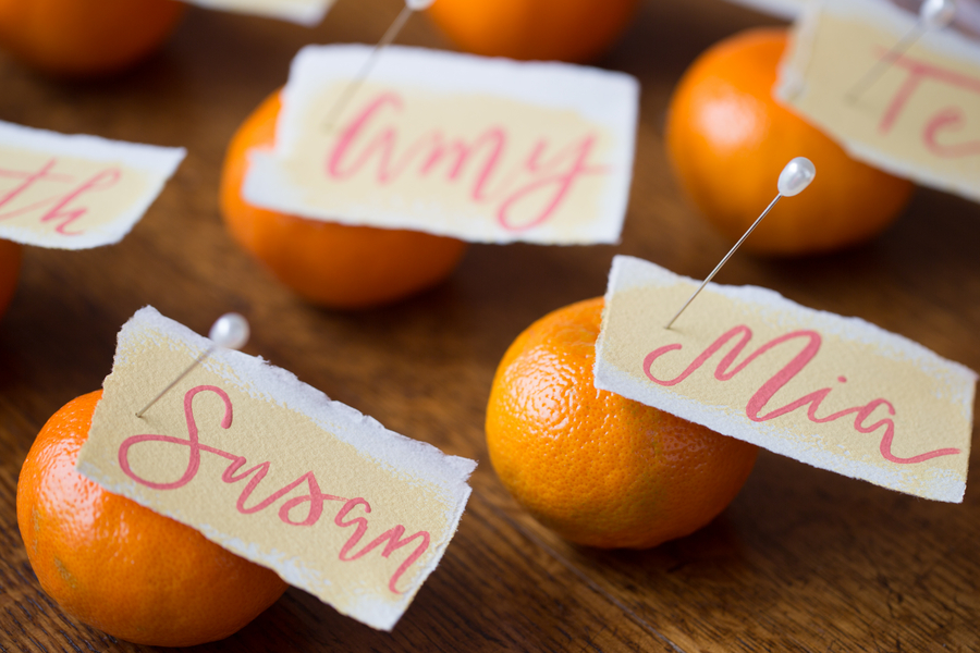 Pink & Orange Wedding escort cards