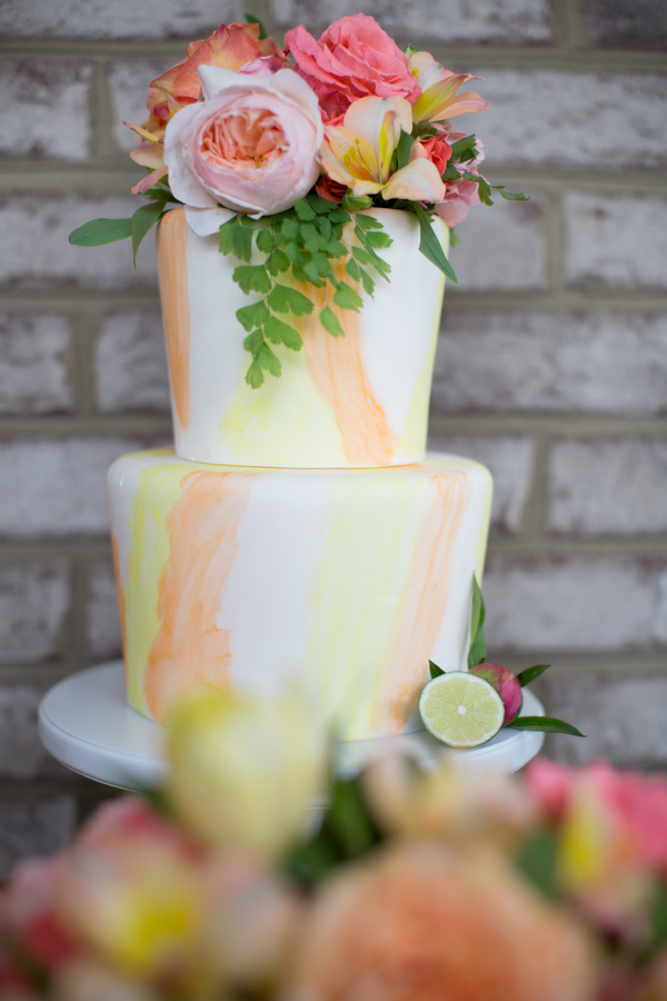 Pink & Orange Wedding cake