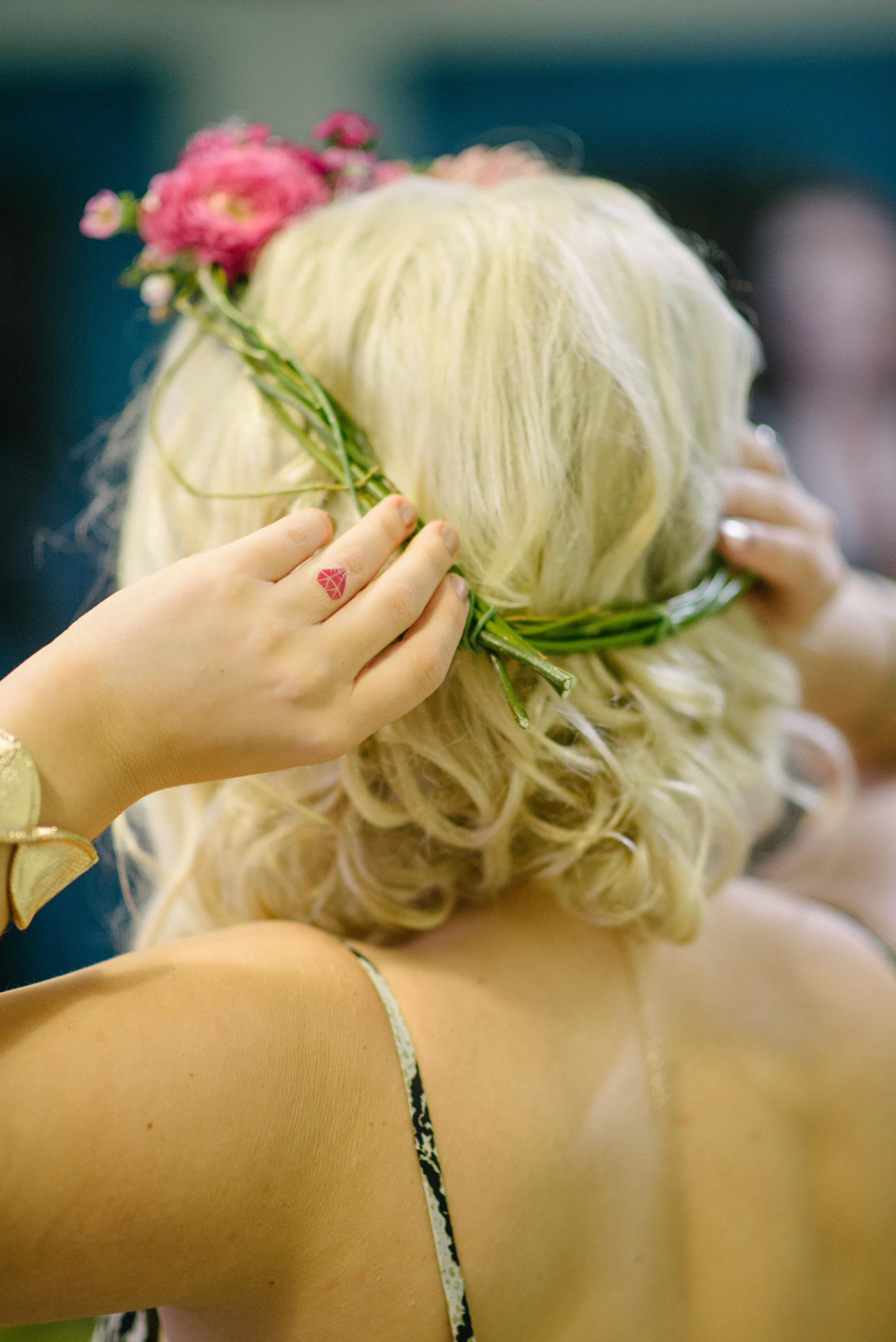 Flower Crown Making Class at Charleston Bachelorette Party Shoot by Tiger Lily Weddings