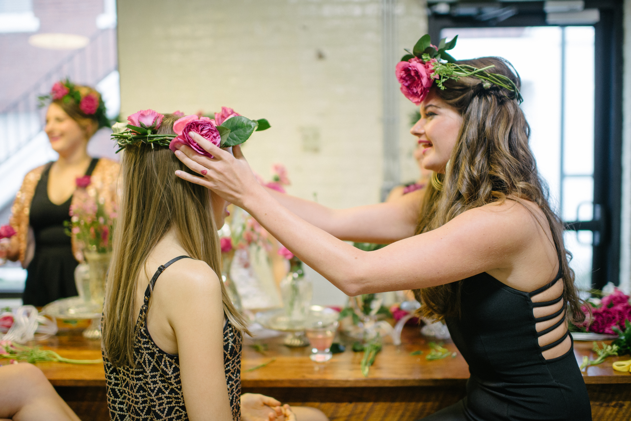 Flower Crown Making Class at Savannah Bachelorette Party Shoot
