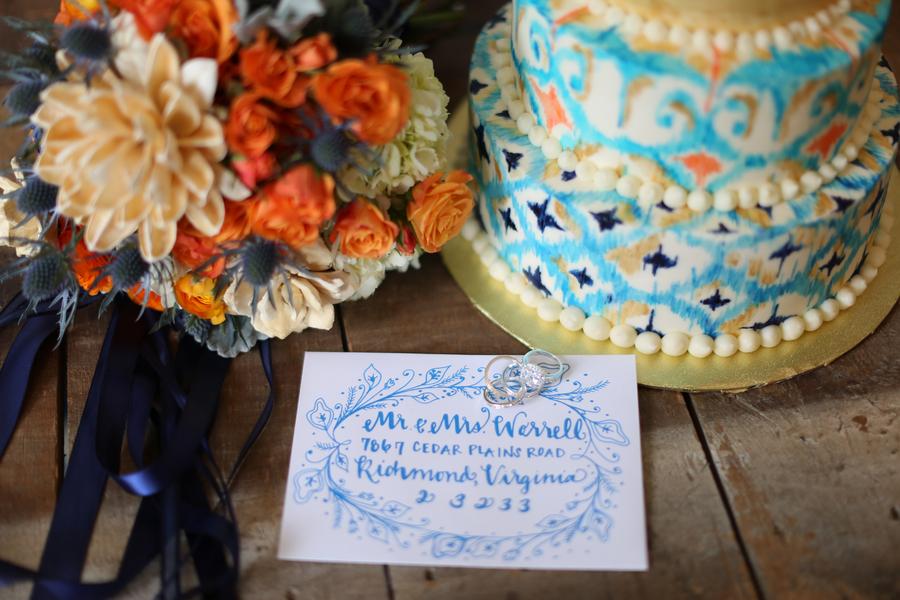 Bllue & Orange wedding invitations