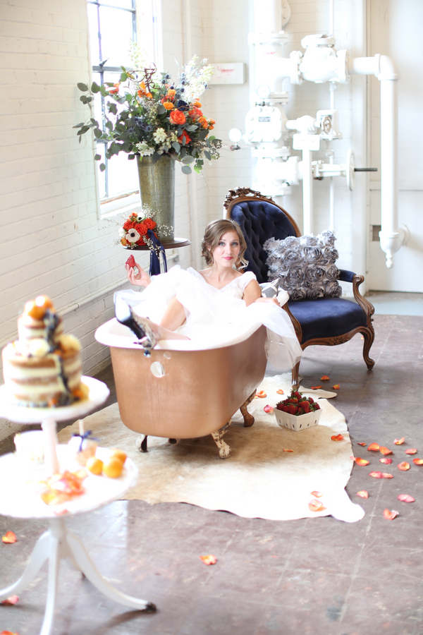 Bride in a bathtub