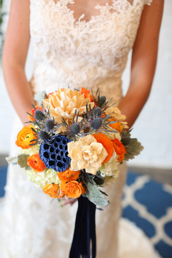 Blue and Orange Wedding Bouquet