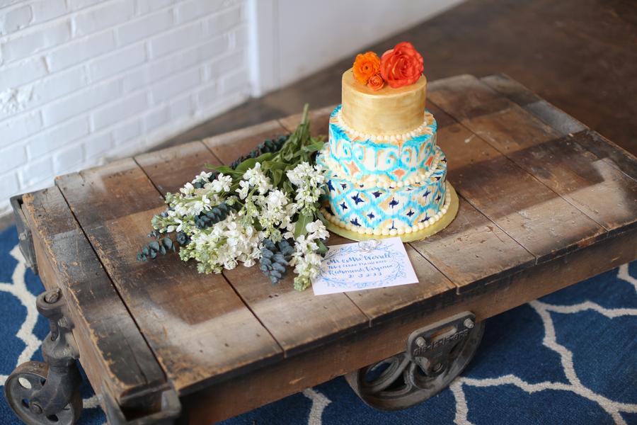 Blue, Orange and Gold Wedding Cake