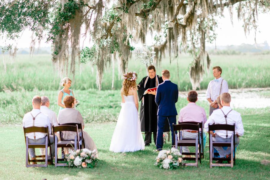 Intimate Litchfield Plantation wedding ceremony