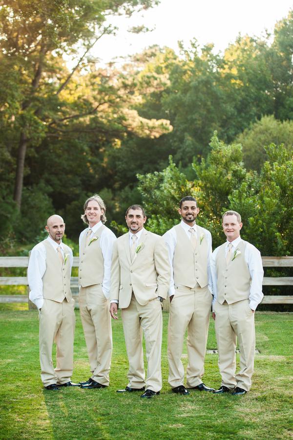 Groomsmen in Tan Suits & Vests