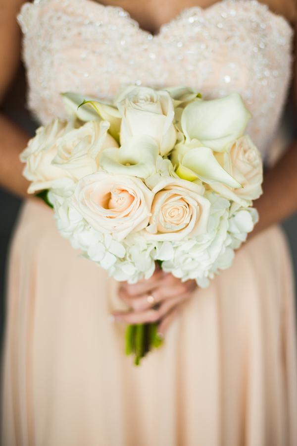 Peach and White wedding bouquet
