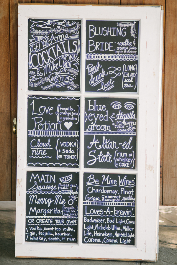 Chalkboard Wedding Drink Menu