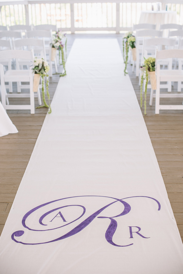 Aisle runner at charleston wedding