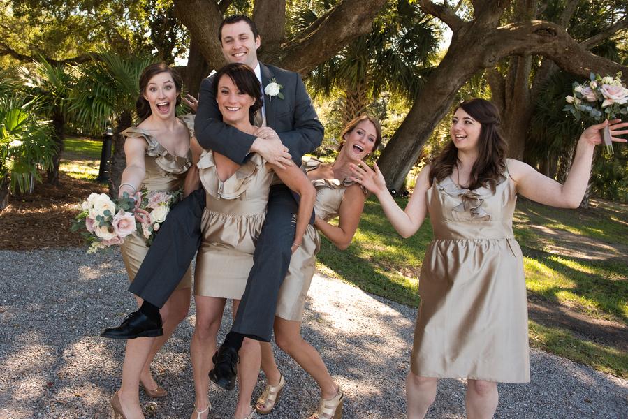 Gold Bridesmaids Dresses at Charleston wedding