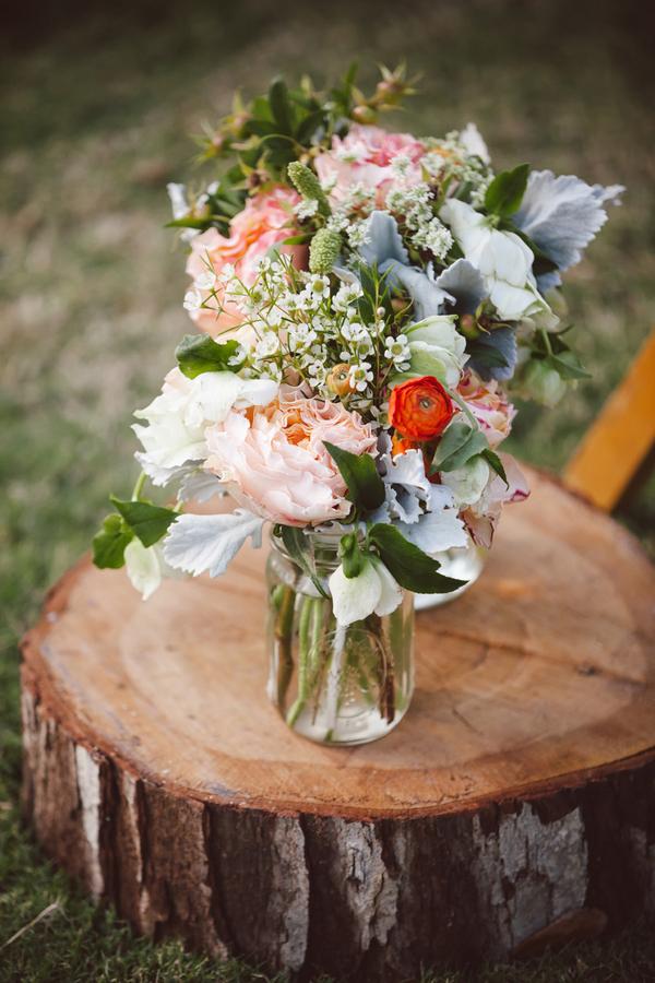 Rustic Peach Wedding Flowers
