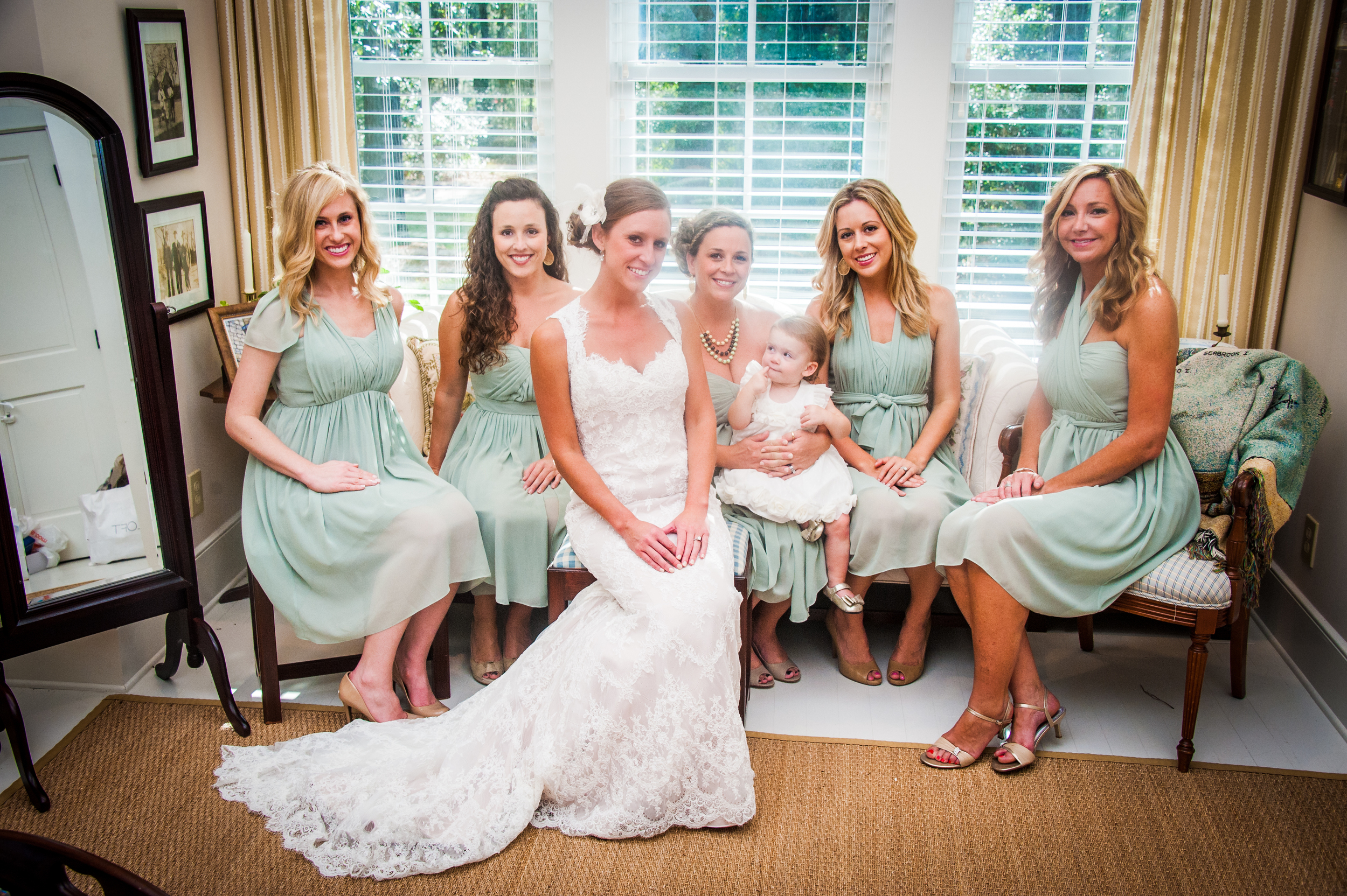 Bridesmaids in Sage Green at Brookland Pointe