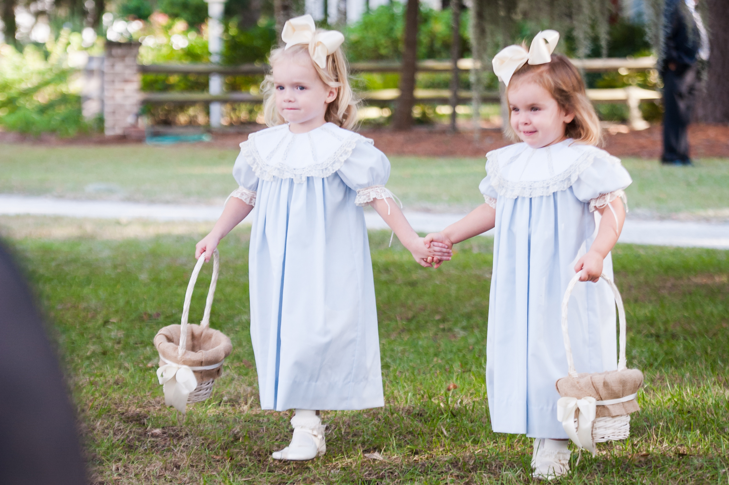 Flowers girls in light blue smock dresses