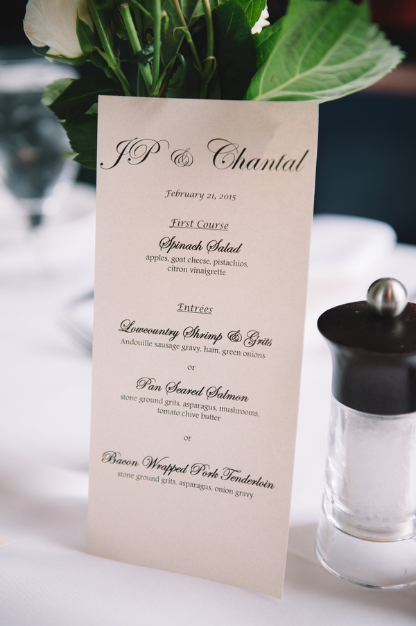 Charleston wedding menu