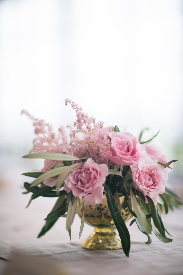 Charleston Wedding Centerpiece with Pink Garden Roses