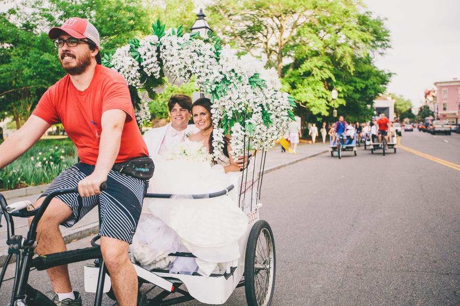 Charleston Wedding Pedicab Getaway Ride