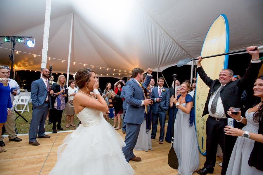 surfboard guest book at Myrtle Beach wedding