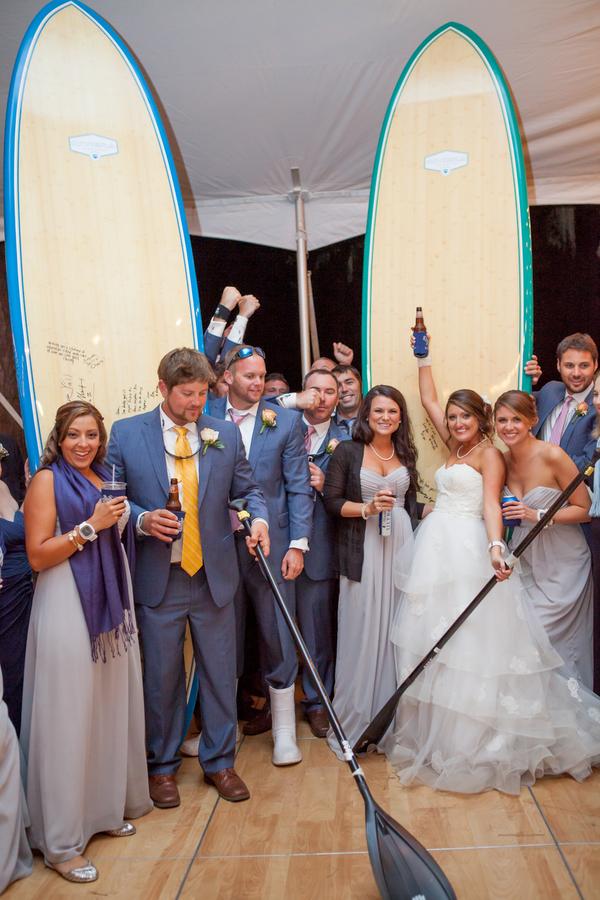 surfboard guest book at Myrtle Beach wedding at Sunnyside Plantation