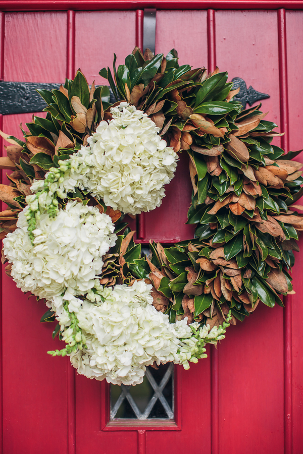 Charleston Wedding wreath with magnolia leaves and hydrangeas