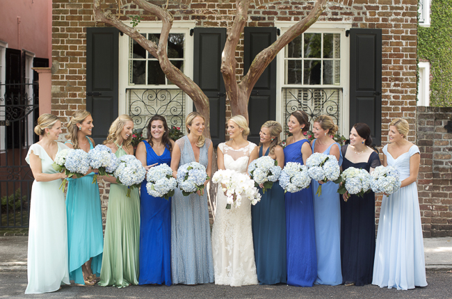 Blue Bridesmaid Dresses at wedding in Charleston