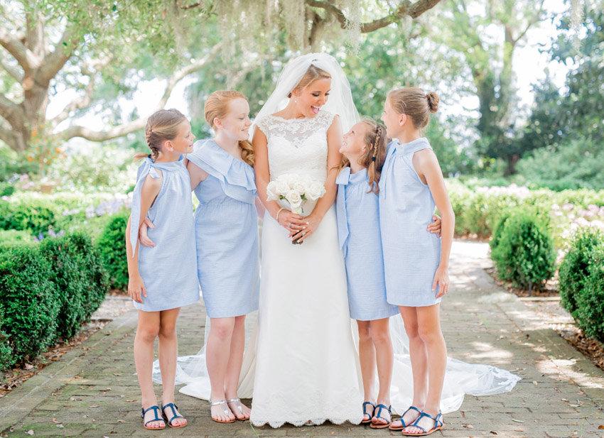 Blue Seersucker flower girl dresses at Beaufort wedding