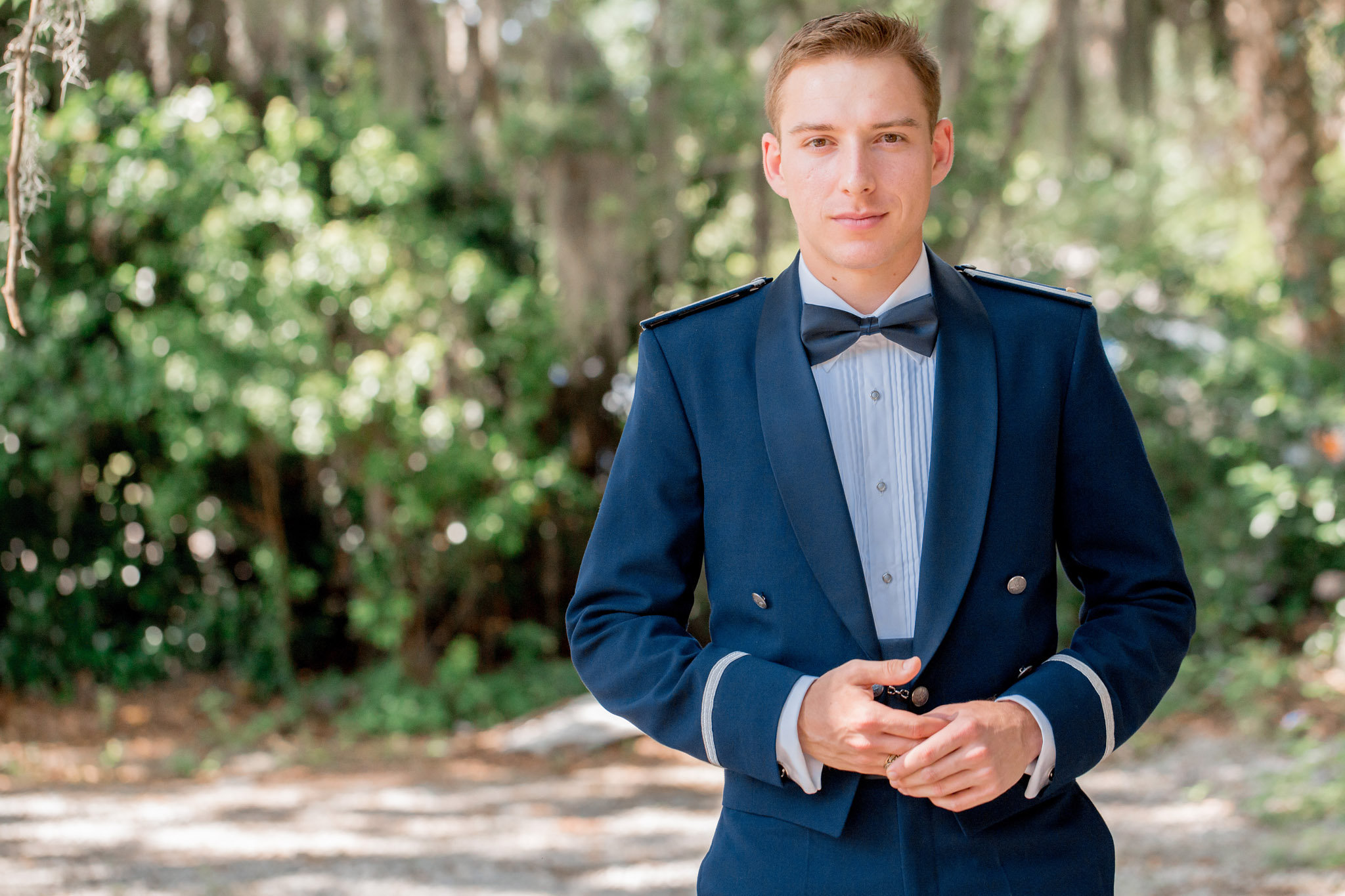 Groom in military attire at Beaufort wedding