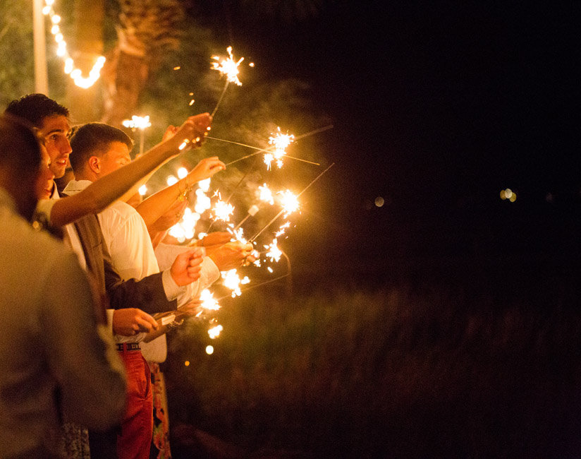 Sparkler exit at Lowcountry wedding reception in Beaufort, SC