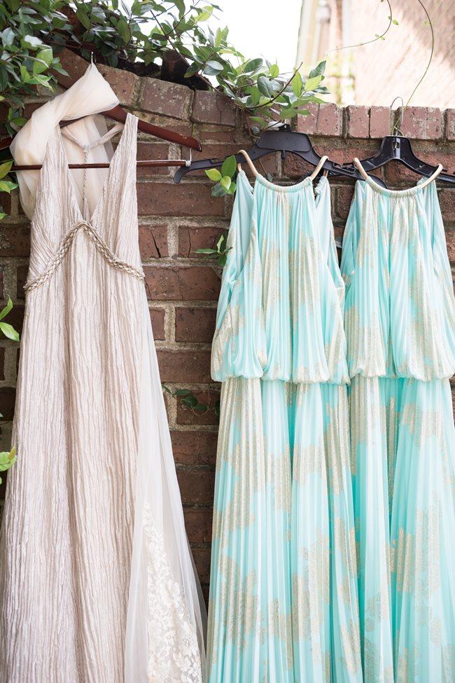 Mint Bridesmaids Dresses at Savannah Wedding