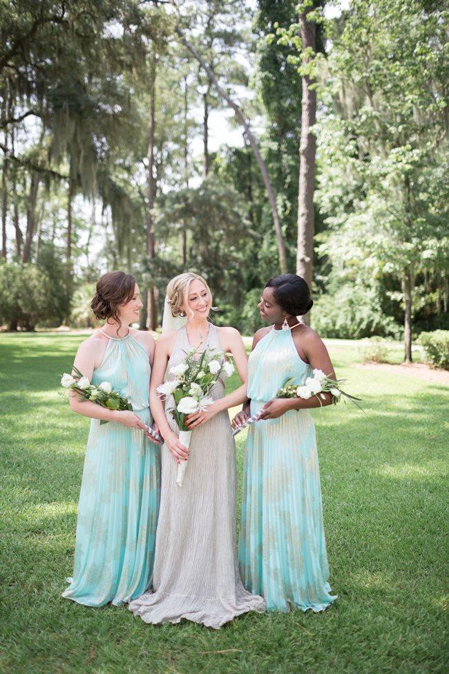 Mint Bridesmaids Dresses at Savannah Wedding at Plantation Landing