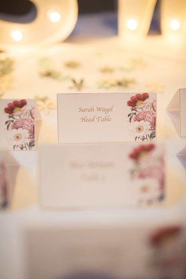 place cards at 10 Downing Wedding reception in Savannah, GA